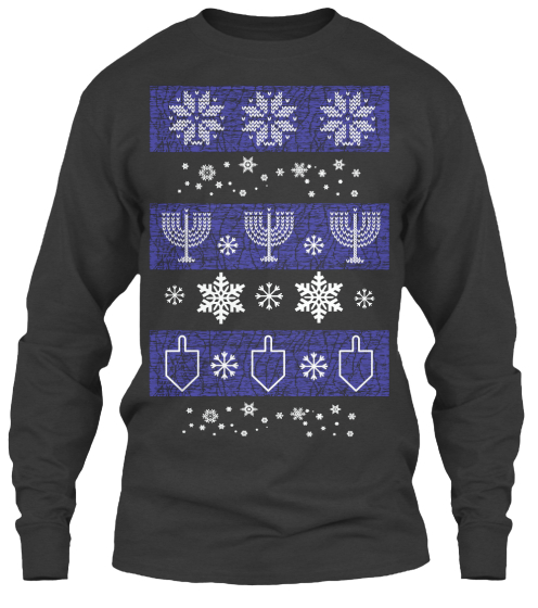"Ugly Hanukkah ""Sweater"" Tee Long Sleeve T-Shirt Front"