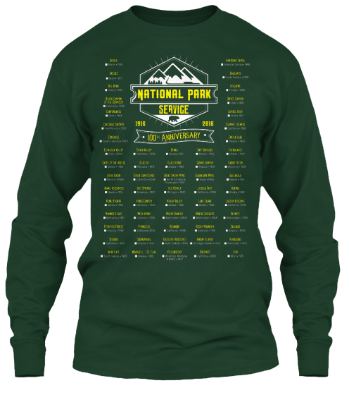 National Park Service 1916 2016 100 Th Anniversary Long Sleeve T-Shirt Front