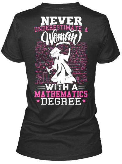 Never Underestimate A Woman With A Mathematics Degree Women's T-Shirt Back