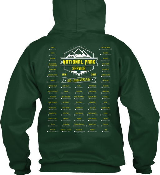 National Park Service 1916 2016 100 Th Anniversary Sweatshirt Back