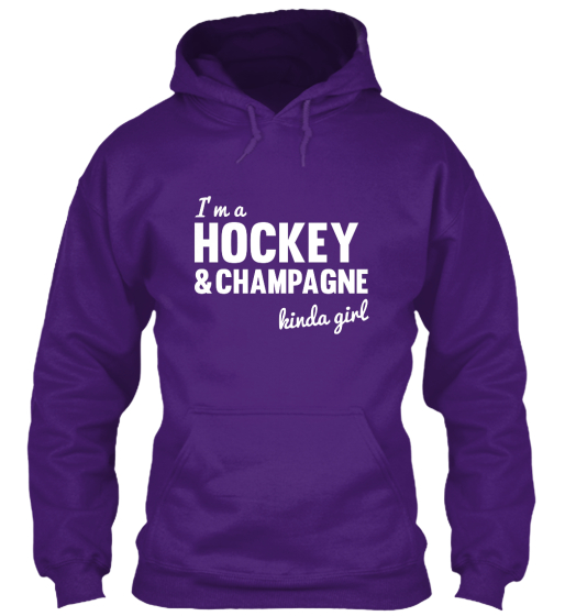 Hockey And Champagne Hoodie Sweatshirt Front