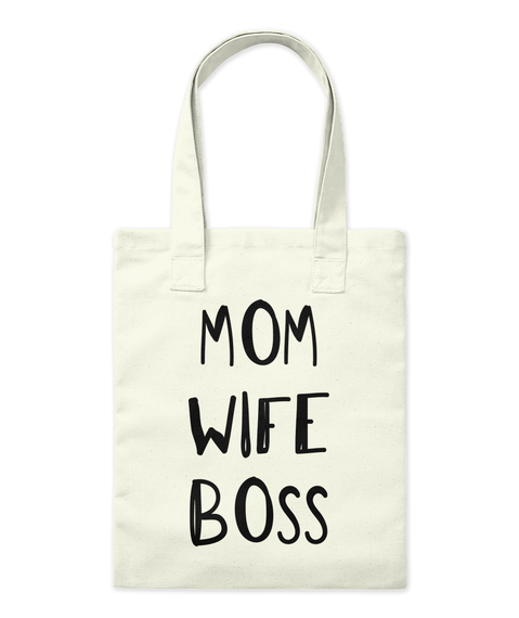 Mom Wife Boss Natural Tote Bag Front