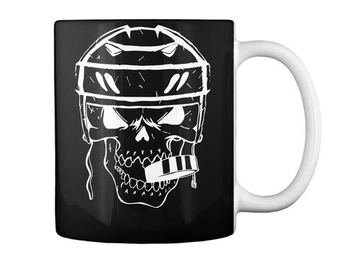 Coffee Mug Hockey Player Skull Puck Black Mok Back