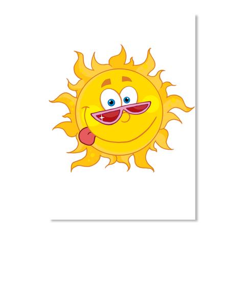 The Summer Sun Radiating Brilliant Sun White Sticker Front