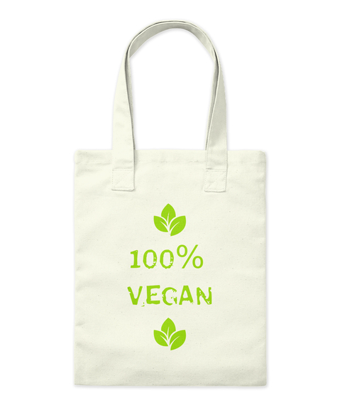 100% Vegan Natural Tote Bag Front