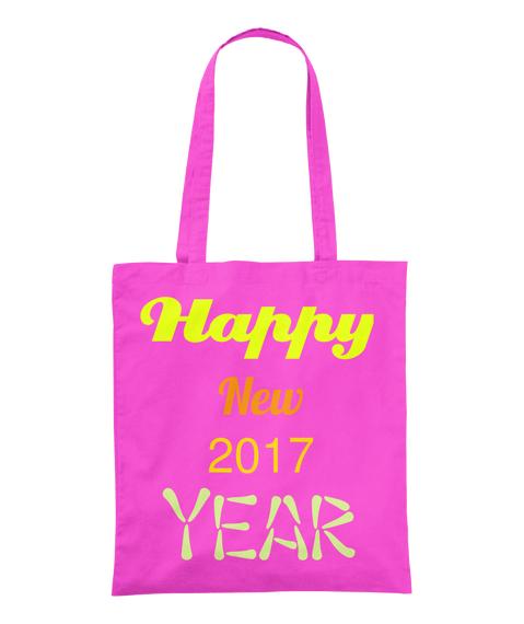 Happy New 2017 Year Fuchsia Tote Bag Front