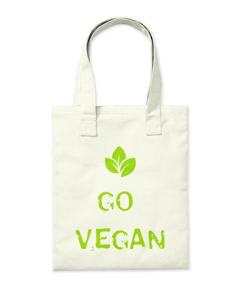 Go Vegan Natural Tote Bag Back