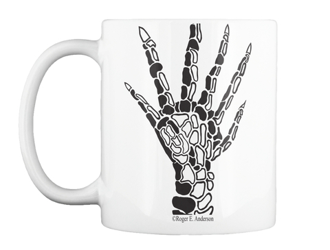 Six Fingered Hand Mug White T-Shirt Front