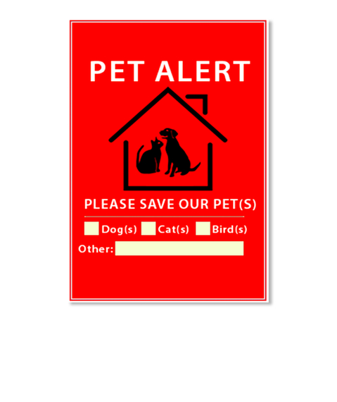 Pet Alert Please Save Our Pet  (S) Dog (S) Cat (S) Bird  (S) Other White Sticker Front