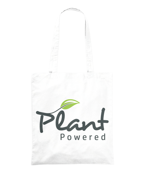 Plant Powered White Tote Bag Front