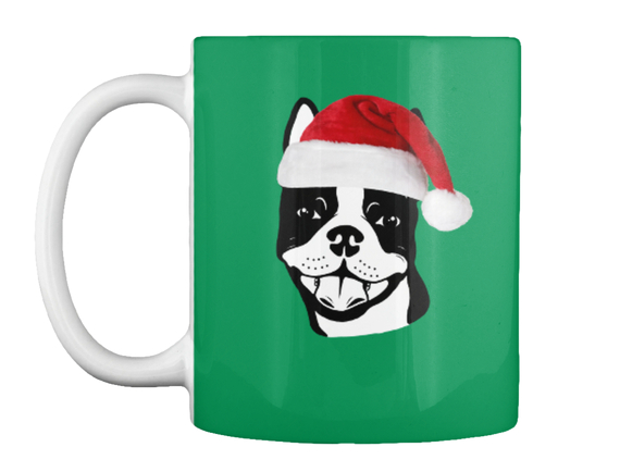"Boston Terrier ""Santa"" 11oz Mug Mug Front"