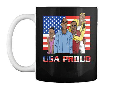 Usa Proud Black Mug Front