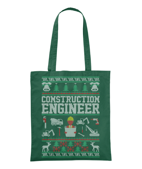 Construction Engineer Bottle Green Tote Bag Front