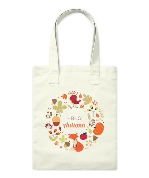 Hello Autumn Natural Tote Bag Front