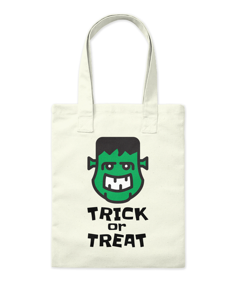 Trick Or Treat Monster Halloween Bag Natural Borsa di Tela Front