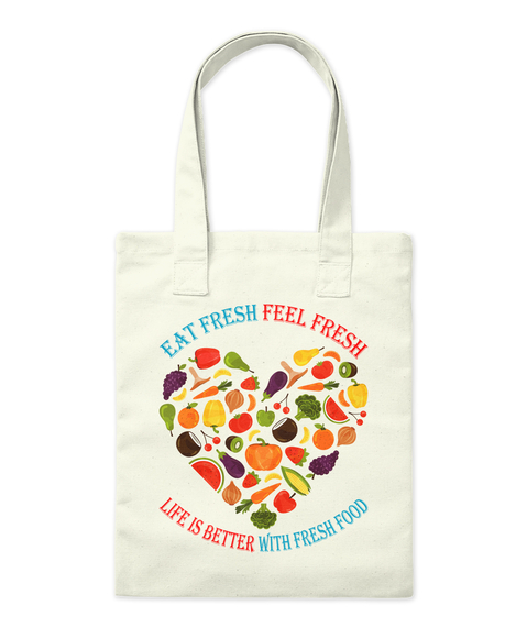 Best Fruits And Vegetables Tote Bags Natural Tote Bag Front