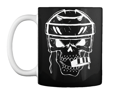 Coffee Mug Hockey Player Skull Puck Black Mok Front