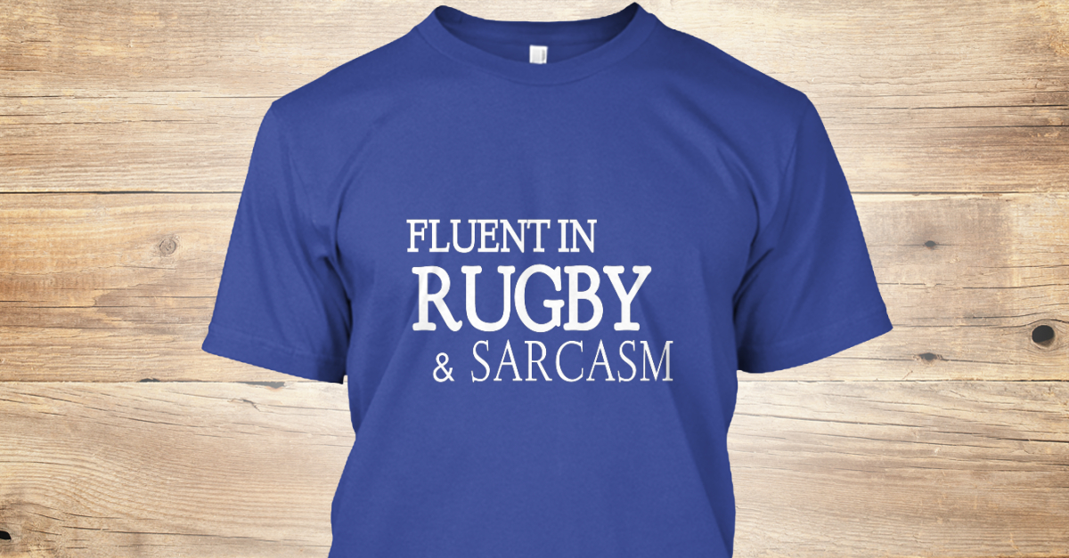 b3a1634c9 Fluent in Rugby & Sarcasm. Fluent In Rugby & Sarcasm Deep Royal T-Shirt  Front
