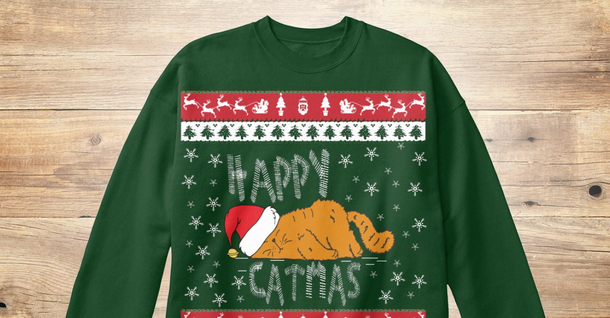 Christmas Cat Sweater.Ugly Christmas Cat Sweater
