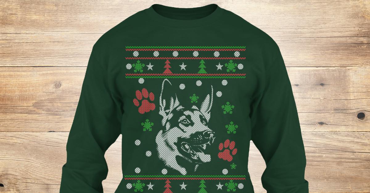 german shepherd ugly christmas sweater style printed products teespring