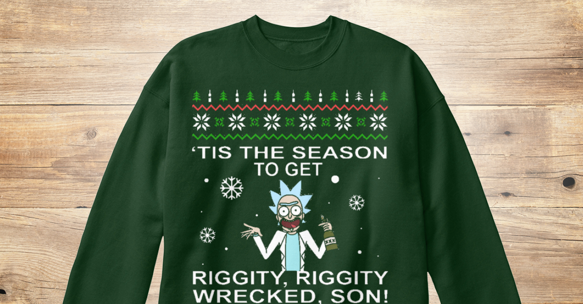 Joker Christmas Sweater.Riggity Wrecked Christmas Sweater