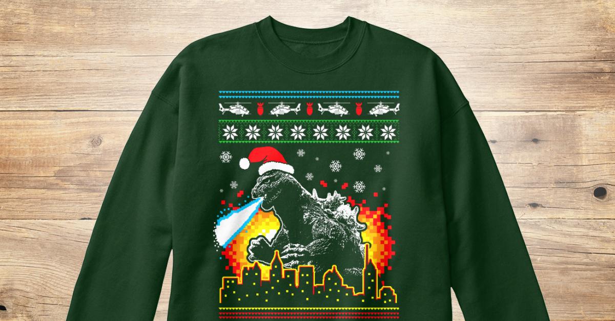 Godzilla Ugly Christmas Sweater Style Products Teespring