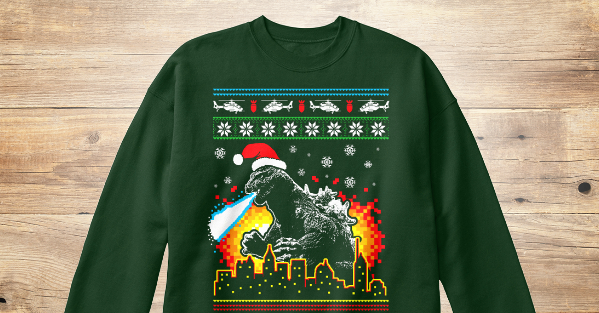godzilla ugly christmas sweater style products teespring