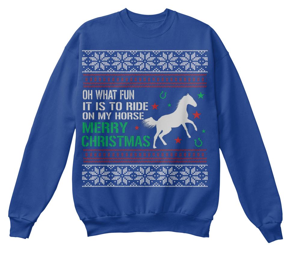 sweat faire unisexe un de Swea moche Oh shirt Noël plaisir quel Eu Cheval xqvn87Szz