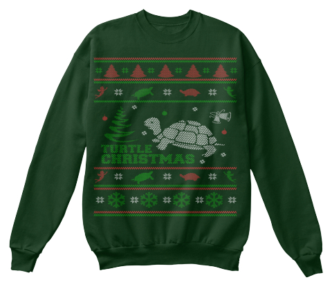 Turtle Christmas Deep Forest Sweatshirt Front