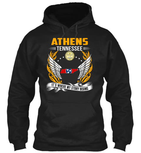 Athens Tennessee It's Where My Story Begins Black T-Shirt Front