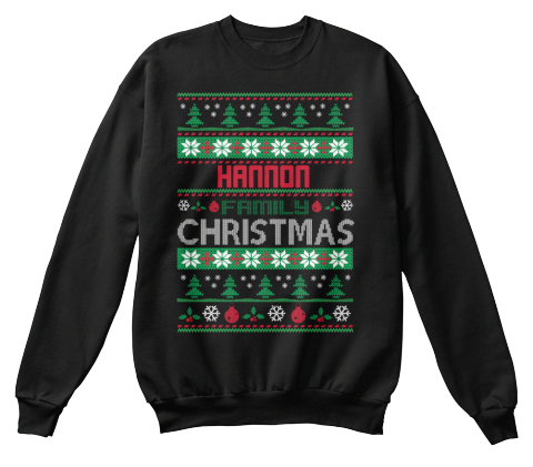 Hannon Family Christmas Black T-Shirt Front