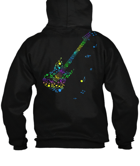 Zip Hoodie Electric Guitar Music Notes Black T-Shirt Back