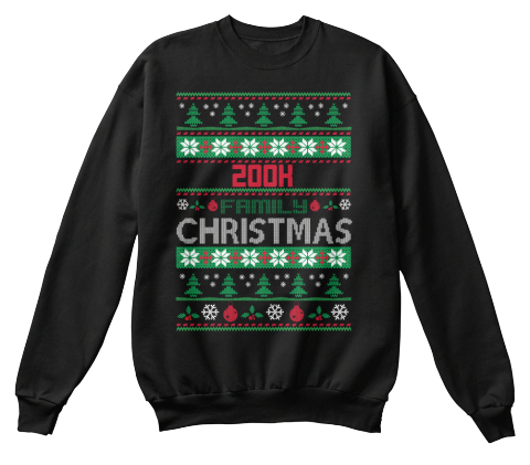 200h Family  Christmas Black T-Shirt Front