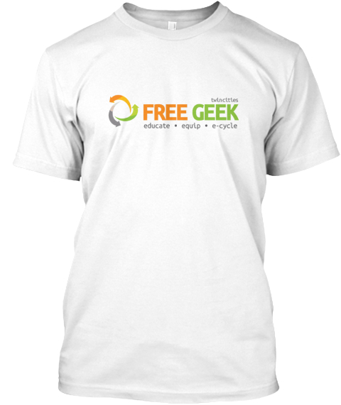 Free Geek T Shirts At Last White T-Shirt Front
