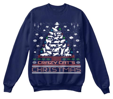 crazy cats christmas navy sweatshirt front