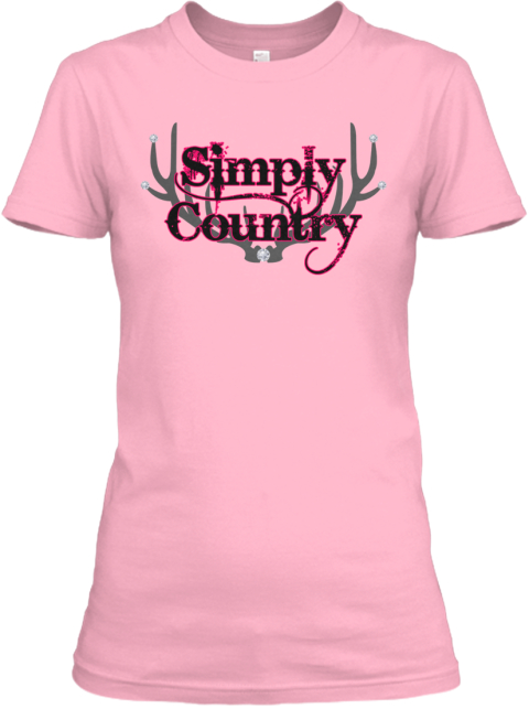 Simply Country Womens Fitted T Shirt Pink T-Shirt Front