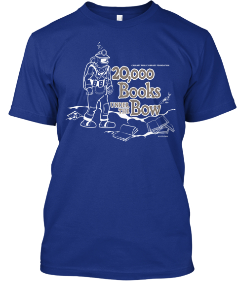 Limited Retro 20,000 Books Under The Bow Deep Royal T-Shirt Front