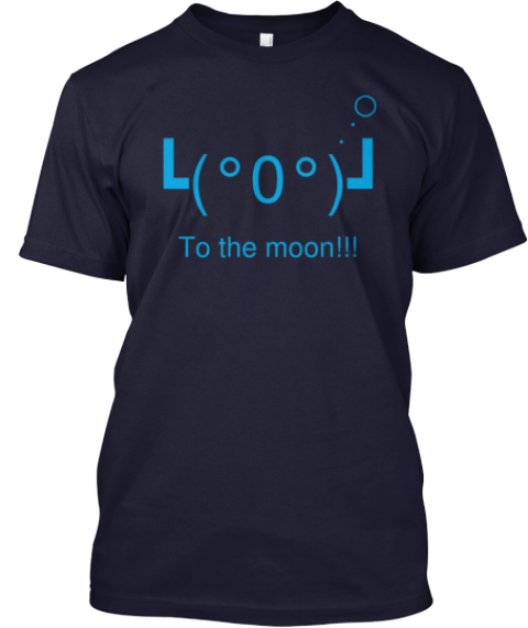 ○ . . ┗(°0°)┛ To The Moon!!! Navy T-Shirt Front