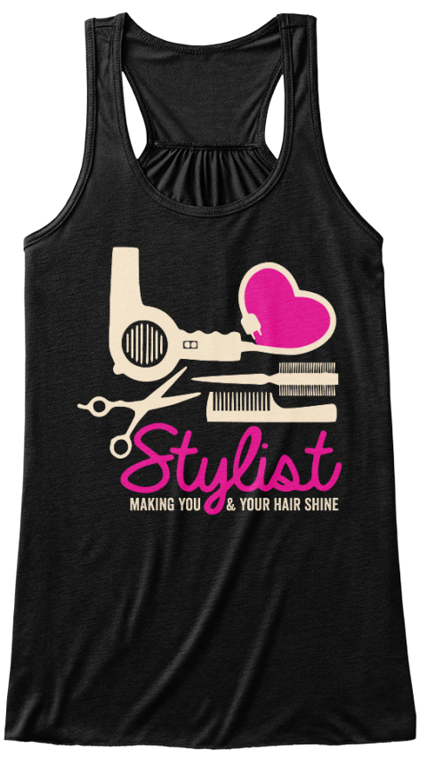 Stylist Making You & Your Hair Shine Black Women's Tank Top Front
