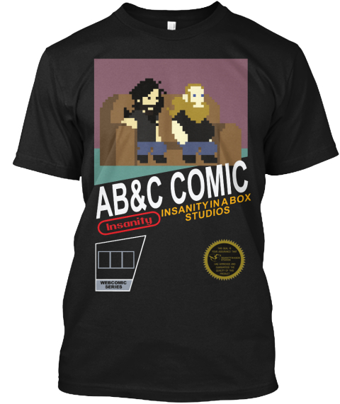 Ab&C Comic Insonity Insanity In A Box Studios Black T-Shirt Front