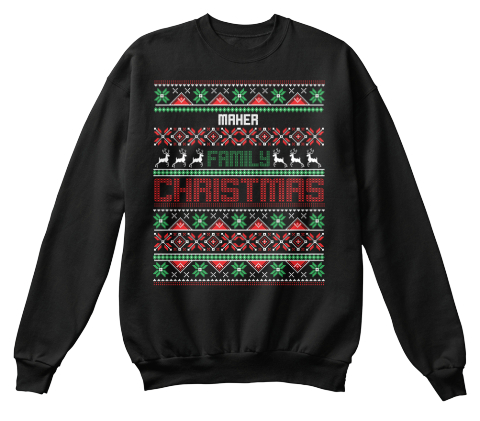 Maher Family Christmas Black Sweatshirt Front