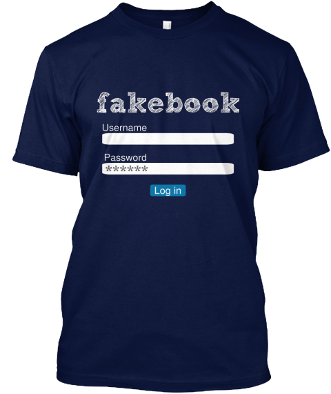 Facebook Username Password ****** Log In Navy T-Shirt Front