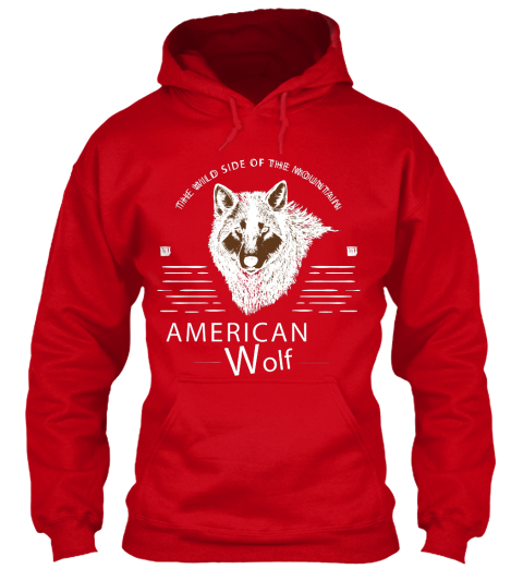 The Wild Side Of The Mountain American Wolf Red T-Shirt Front