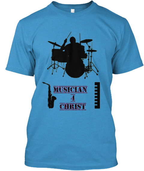 Musician  4 Christ Heathered Bright Turquoise  T-Shirt Front
