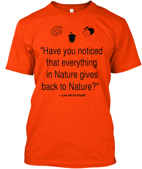 Have You Noticed That Everything In Nature Gives Back To Nature Look Into The Stillness Orange T-Shirt Front