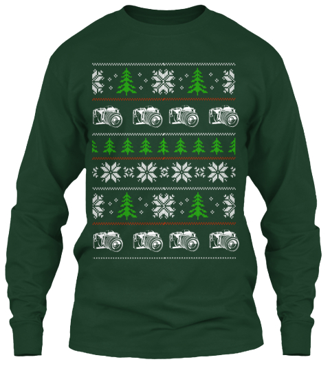 Faux Vintage Christmas Sweater   Cameras Forest Green Long Sleeve T-Shirt Front