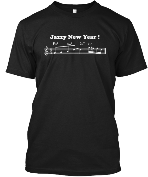 Jazzy New Year T Shirt Black T-Shirt Front