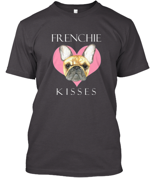 Frenchies Dog Heathered Charcoal  T-Shirt Front