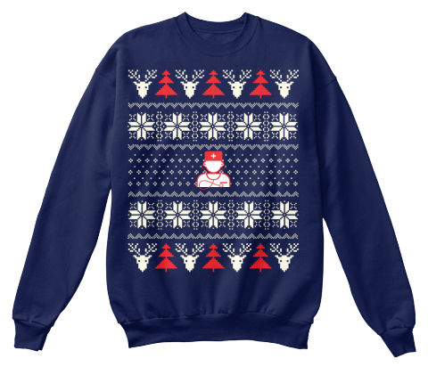 Nurse Ugly Christmas Sweater Navy  Sweatshirt Front