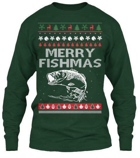 Fishing christmas ugly sweater merry fishmas long sleeve for Fishing christmas sweater